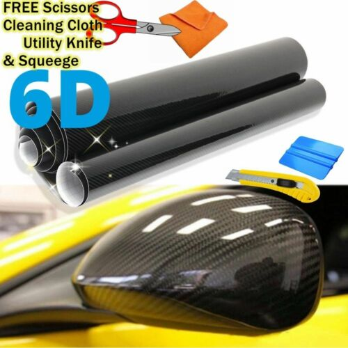 "Premium 6D HIGH GLOSS Black Carbon Fiber Vinyl Bubble Free Air Release 96/"" x 60/"""