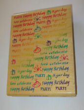Happy Birthday Rubber Stamp Large Background Party Cake Let's Celebrate Present