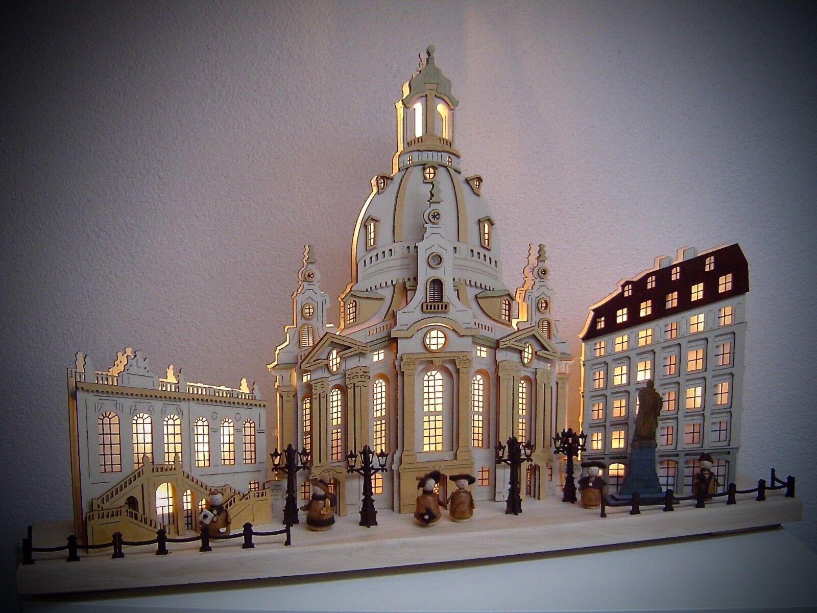 Led Arcos 3D con 6 Figuras Iglesia de las Mujeres Dresden 62x40 cm Erzgebirge