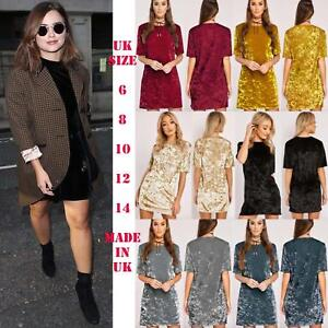 New-Womens-Ladies-Crushed-Velvet-T-shirt-Dress-Loose-Long-Top-Blouse-Casual-Tops