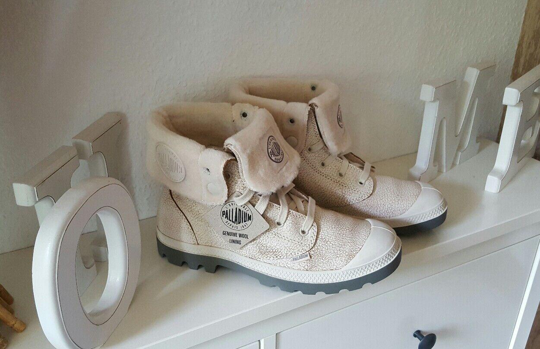 Palladium Fell Damen Mädchen Schuhe Baggy Stiefel 37 Leder Fell Palladium Camel Neu  fd20fe