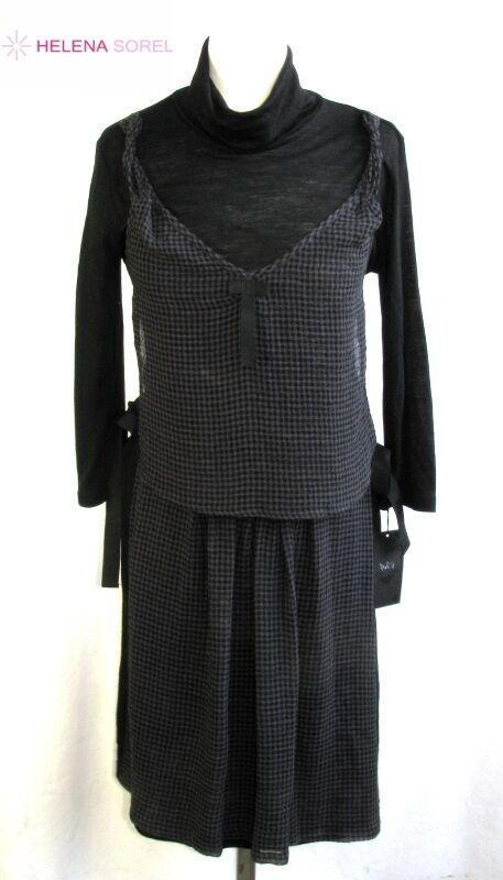 HELENA SOREL - KLEID ORIGINAL WOLLE SCHWARZ & GRAU GRÖßE 38 - NEU & ETIKETTE | Mode-Muster  | Outlet Online Store  | Günstigen Preis