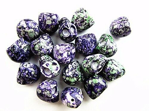 10PCS 18x15x17mm purple green Riverstones carved skull pendant bead Vk5558