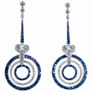 Vintage-Art-Deco-3-95-Ctw-Round-Diamond-amp-Sapphire-Dangle-14K-Gold-Over-Earrings