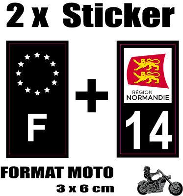 2 Stickers Style Plaque Moto 3x6 Cm Black F étoiles Blanches + Département 14 Exquise Vakmanschap;
