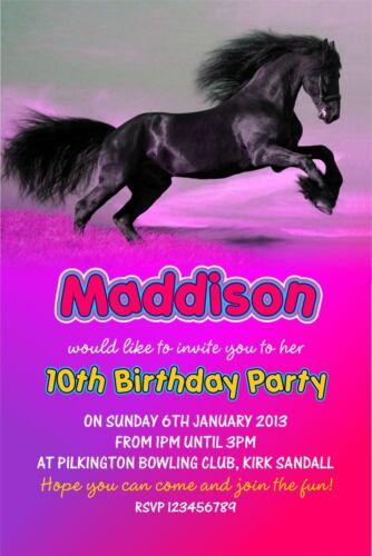 Personalised Birthday Invitations Horse Riding Pony Party x 5