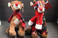 "2RUDOLPH THE RED NOSE REINDEER Soft Plaid Plush with Scarf New With Tags11"" RARE"