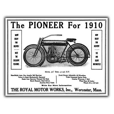 The Royal Pioneer 1910 Motor Cycle Bike Metal Sign Wall Plaque Vintage Print Ebay