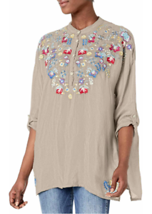 Johnny-Was-Gray-Tunic-Top-L-Floral-Embroidery-Bohemian-Chick-Casual-blouse-NWT