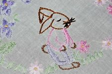 EASTER BUNNY IN PINK & LAVENDER W/ BUTTERFLY & VINES! VTG GERMAN HAND TABLECLOTH