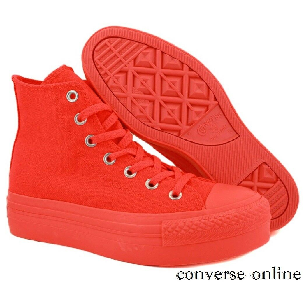 Damenschuhe Girls CONVERSE All Star PLATFORM High Top Orange Trainers Stiefel SIZE UK 3