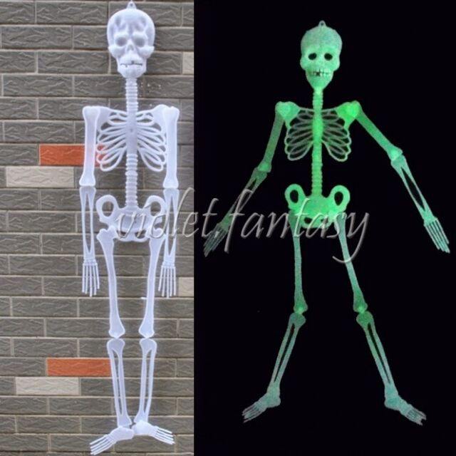 New Halloween Human Skeleton Hanging Decoration Glow in the Dark Funky Scary Toy