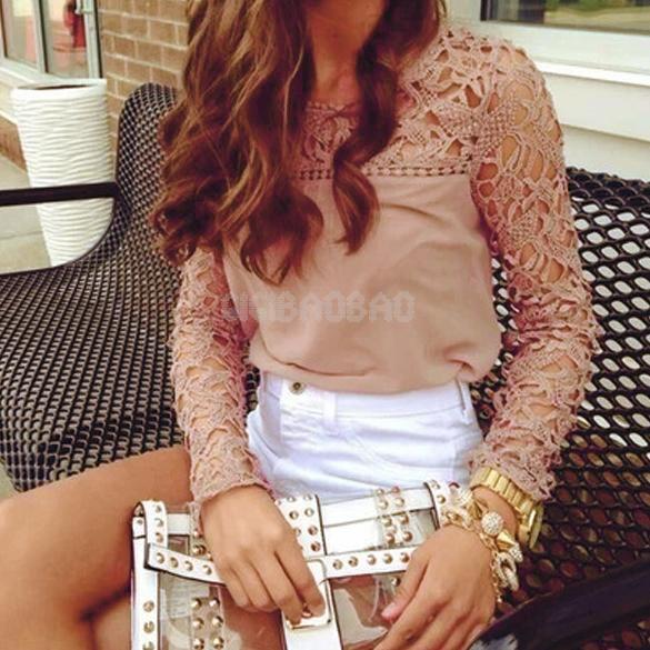 Fashion Women Ladies Chiffon Lace Crochet Long Sleeve Shirt Casual Blouse Tops