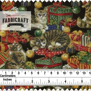 Christmas-Fabric-Cats-amp-Presents-on-black-100-cotton-1-metre
