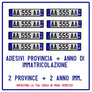 2-ADESIVI-PROVINCIA-2-ANNO-IMMATRICOLAZIONE-TARGA-AUTO-EUROPEA-RIPRISTINO-AUTO