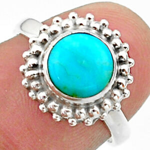 3.29cts Solitaire Blue Arizona Mohave Turquoise 925 Silver Ring Size 6.5 T41281
