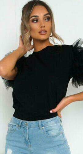 Ladies Short Sleeve Tulle Scoop Neck Frill Mesh Puff Party T Shirt Top Size 8-26