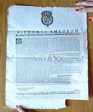 MANIFESTO VITTORIO AMEDEO II SAVOIA PRENCIPE DI PIEMONTE TORINO 1700