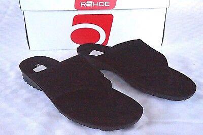 Inventivo Rohde Infradito Sandali Pelle Tg. 38 Nero Morbido Plantare-mostra Il Titolo Originale