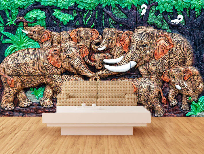3D Vivid Elephants 7 Wall Paper Murals Wall Print Wall Wallpaper Mural AU Summer