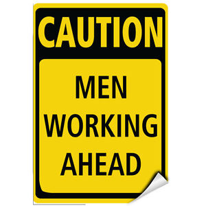 caution men working ahead hazard sign men at work signs label decal