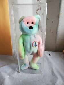 Ty Beanie Baby 1996 PEACE the Bear, TYE DYE, Retired, PE Pellets, tag protector