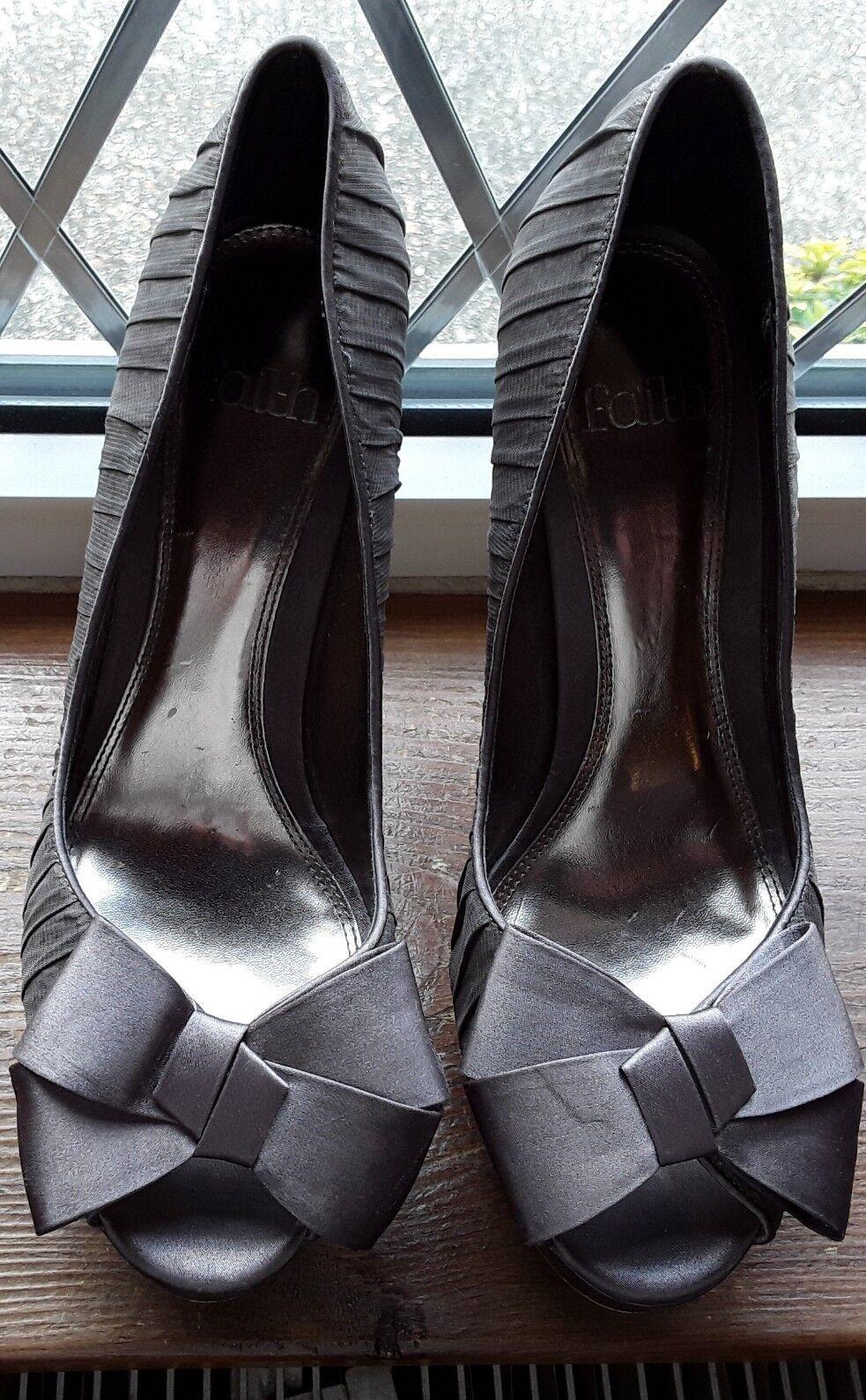 Satin Bow Sequined Peep Toe Stillettos FAITH Size 7