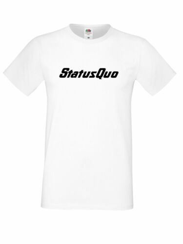 Status Quo Logo Rock Band Rossi Parfit Hello Dog of Two Heads White t shirt
