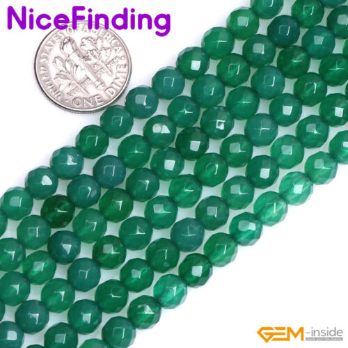 """Natural Faceted Green Agate Onyx Loose Stone Beads For Jewelry Making Strand 15/"""""""