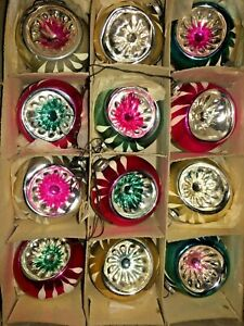 Box-12-Vintage-INDENT-JAPAN-MINI-Feather-Tree-Glass-Xmas-Ornaments-Best