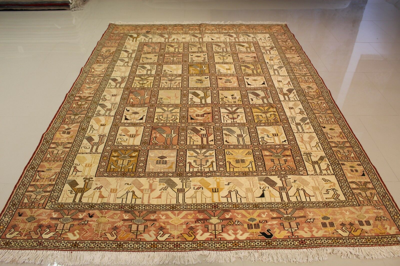 PERSIAN SUMAK VINTAGE TRULY A PURE SILK HANDMADE MASTERPIECE 6'x9' 6'x9' 6'x9' IMPECCABLE cd554e