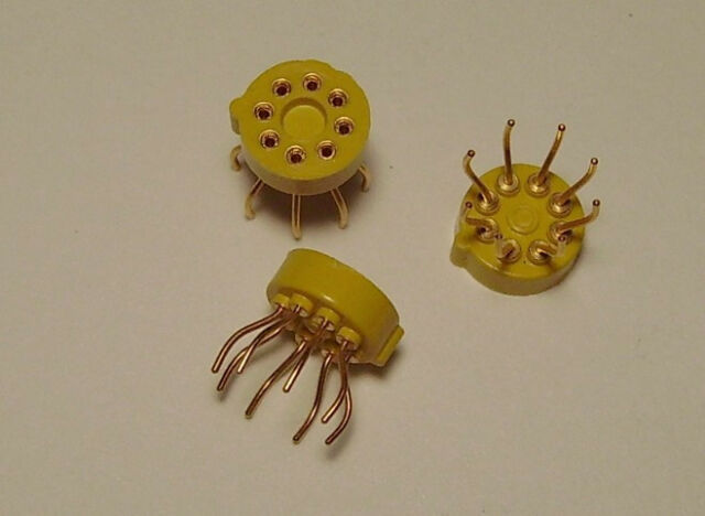 Qty(3) Gold 8-Pin Round IC Integrated Circuit Socket Electronic Molding Co USA