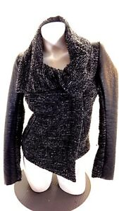 H & M Noir pour Femmes Tweed Fermeture Éclair Côté Simili
