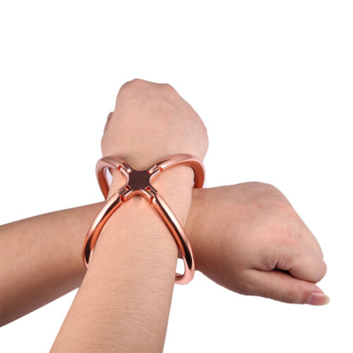 Stainless Steel Cross Handcuffs Restraint Metal Shackle Cosplay Toy with Lock