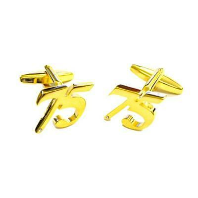 Gold Plated SEVENTY 70 Cufflinks Age 70TH Birthday Age Formal Present Gift Box
