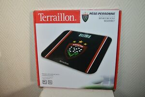PESE-PERSONNE-BALANCE-TERRAILLON-LCD-VERRE-RCT-TOULON-RUGBY-NEUF-BATH-ROOM-SCALE