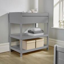 Hampton Grey Pine Baby Changing Table Nursery Wooden Dresser 1 Drawer 2 Shelves