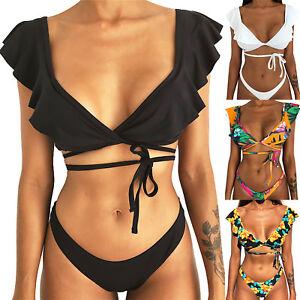 134330900a Womens Deep V Neck Ruffle Bikini Set Lace-up Top V Thong Swimsuit ...