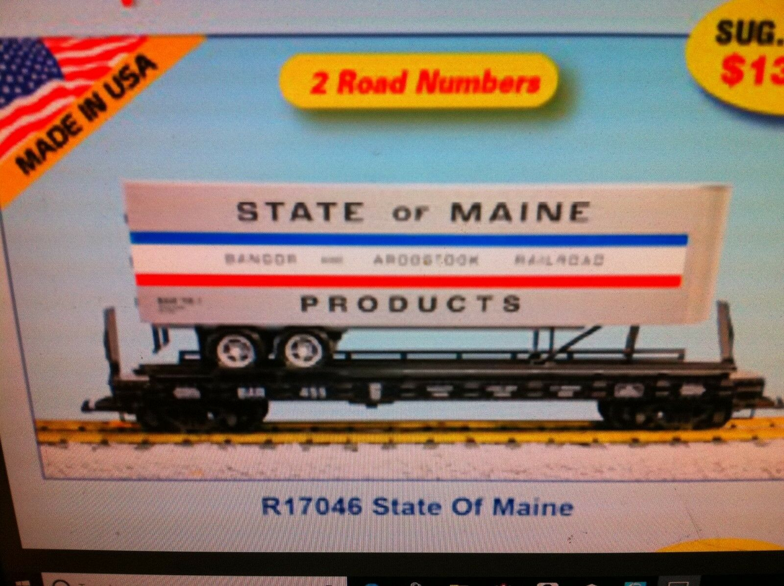 USA Trains G Scale Flat Car w Trailer R17046 State of Maine