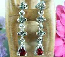 MARCASITE & GARNET Sterling Silver Art Deco Style Drop Earrings