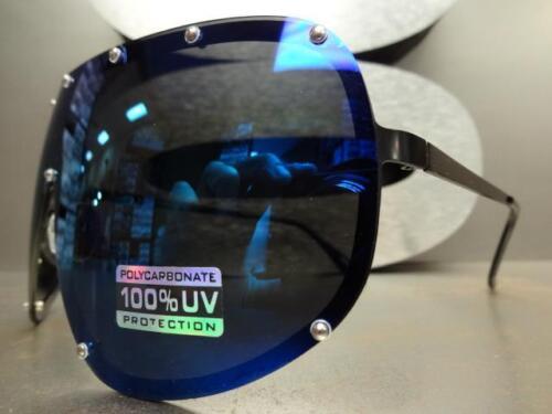 HUGE OVERSIZE VINTAGE RETRO SHIELD Style SUN GLASSES Blue Mirror Polarized Lens