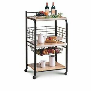 Black-Microwave-Cart-with-Two-Shelves-amp-Wheels