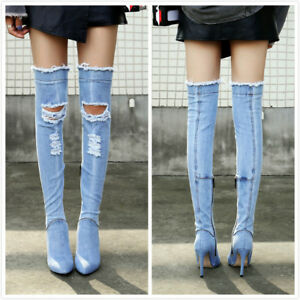 Women-Gladiator-Denim-Holes-Slim-High-Heels-Over-Knee-Boots-Side-Zip-Sexy-Shoes
