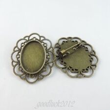 6 pcs New Antiqued Bronze Alloy Oval Cameo Setting Pendant Jewelry 40*30mm 39044