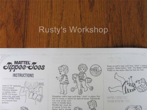 Reproduction 1967 Mattel TIPPEE-TOES doll INSTRUCTIONS sheet