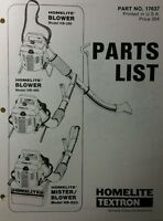 Homelite Gas Backpack Leaf Blower Hb-280 Hb-480 & 680 Part Manuals (2 Books) 24p