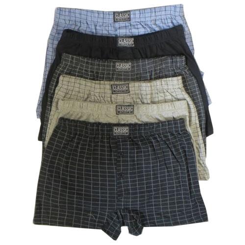 12 X Para Hombre mezcla de algodón cierre de botones Jersey Boxer Shorts Underwear Gran Rey Plus