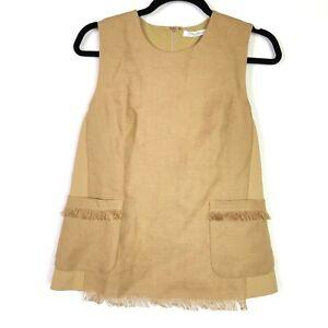 Max-Mara-Womens-Top-Size-Small-S-Sleeveless-Pocket-Crew-Neck-Woven-Fringe-Blouse