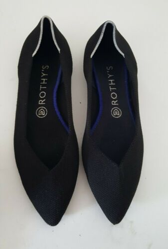 Rothy's The Point Flat Black with White Halo Size