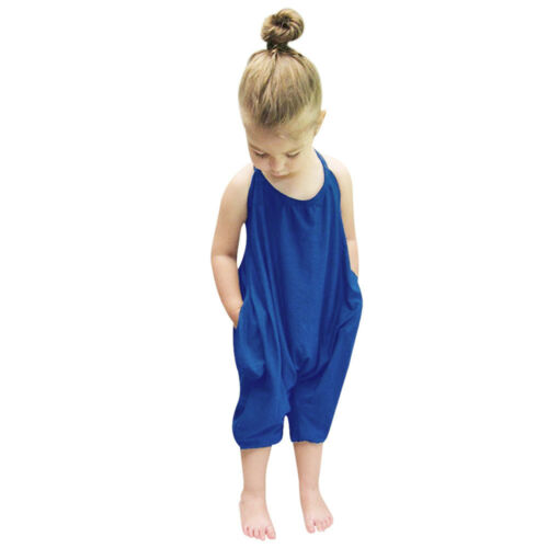 Toddler Kid Baby Girls Halter Straps Rompers Jumpsuits One Piece Pants Clothing